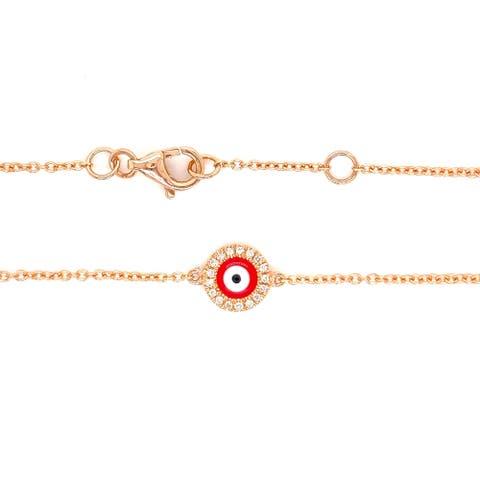 Kabella 14 Karat Gold Diamond Round Red Enamel Evil Eye Bracelet