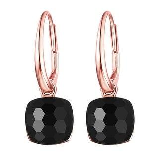 Vedantti Mini Honeycomb Cut Black Onyx Gemstone Protector Leverback Earring