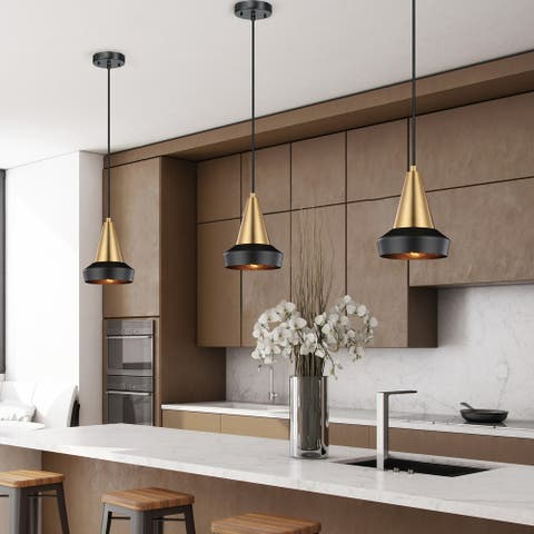 Monte 1-Light Matte Brass Plug-In or Hardwire Pendant Lighting - 6.29""