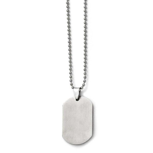Stainless Steel Polished Dogtag Pendant 24in Necklace (2 mm) - 24 in