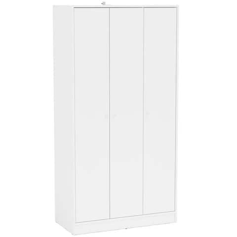 Polifurniture Denmark White Wooden 3-door Wardrobe