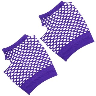 Unique Bargains Fish Net Elastic Short Gloves Fingerless Mittens Purple for Ladies 2PCS