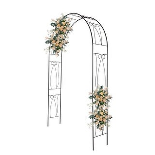 Kinbor Outdoor Garden Arch, Steel Arch Arbor for Climbing Vines and Plants, 7.6' High x 5' Wide, Outdoor Garden Lawn Backyard