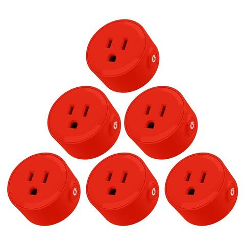 KioKi Alexa Mini Wifi Smart Plug for Google Home, 6 Pack, Red/White/Yellow