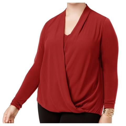 Alfani Women's Blouse True Rust Orange Size 2X Plus Surplice Faux-Wrap