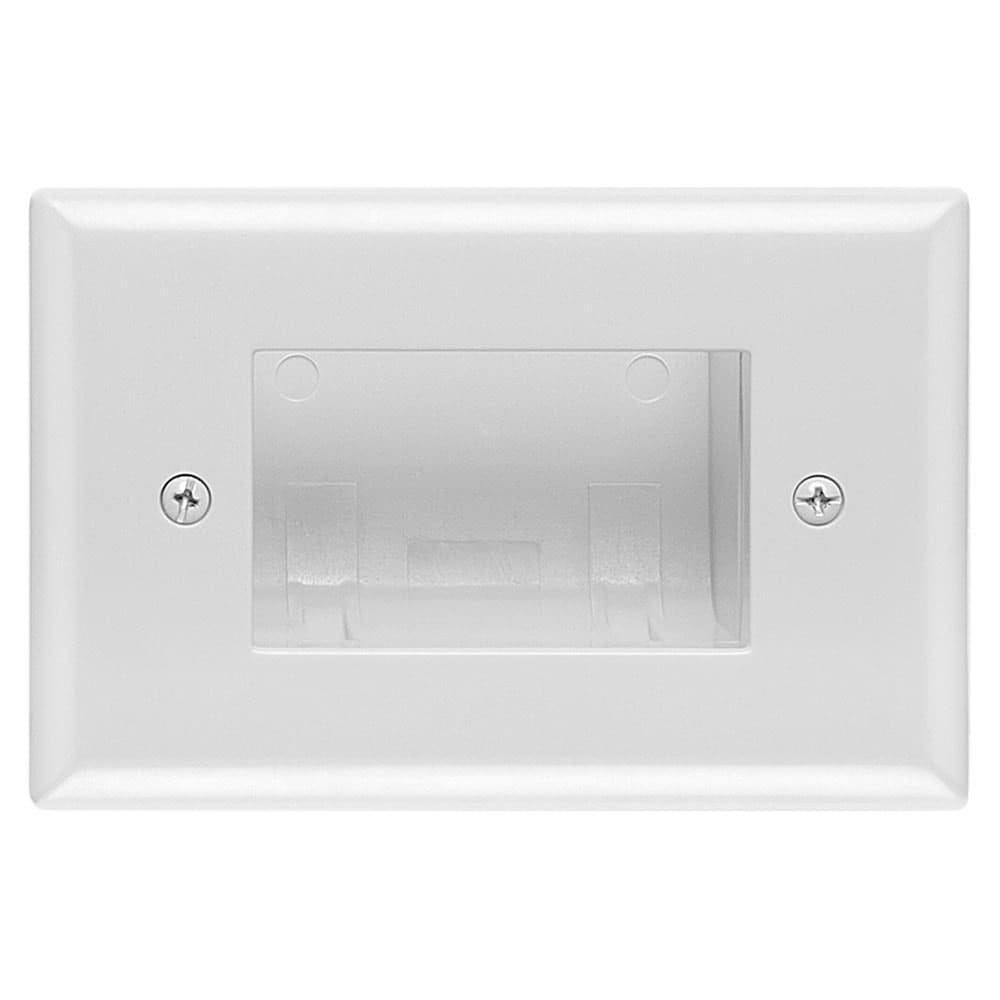 White DataComm Electronics 45-0009-WH Easy Mount Recessed Low Voltage Slim Fit Cable Plate