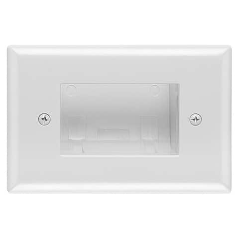 DataComm 45-0009-WH Recessed Easy Mount Low-Voltage Cable Wall Plate - Slim Fit, White