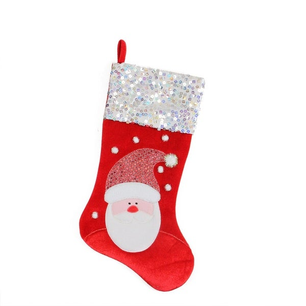 "20.5"" Red and White Santa Claus Embellished and Embroidered Christmas Stocking with Sequined Cuff"