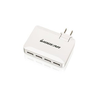 Iogear Gearpower 4-Port 4.2A Usb Wall Charger With Quadsmart Power Balance Technology For Simultaneous Charging Of Smart