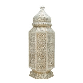 "30.5"" Distressed White and Gold Antique Style Moroccan Cut-Out Floor Pillar Candle Lantern"