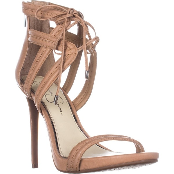 Jessica Simpson Rensa Lace Up Ankle Strap Sandals, Buff - 10 us / 40 eu