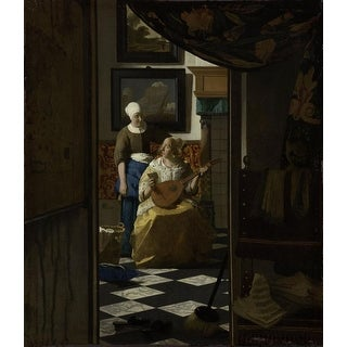 Easy Art Prints Johannes Vermeer's 'The Loveletter' Premium Canvas Art