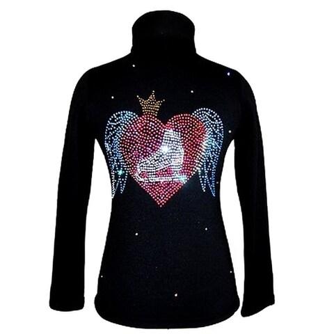 Ice Fire Skate Wear Black Wing Crystal Applique Jacket Girl 4-Women L