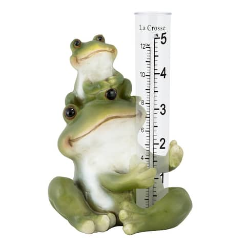 La Crosse 704-4114 5 in. Table standing Polyresin Frog Rain Gauge