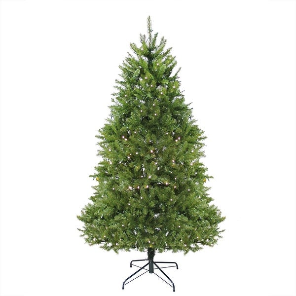 6.5' Pre-Lit Northern Pine Full Artificial Christmas Tree - Warm Clear LED Lights - green