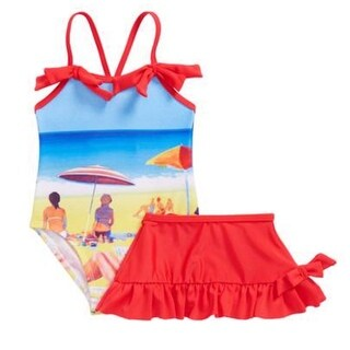 Sol Swim Baby Girls Red Blue Beach Image Print Cover-Up Skirt Swimsuit