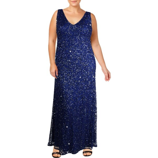 Adrianna Papell Womens Evening Dress Formal Sequined