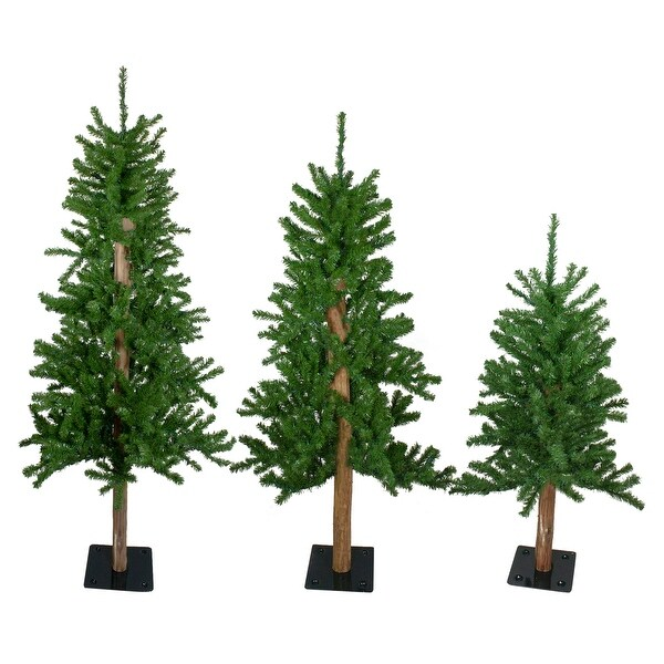Shop Set of 3 Alpine Artificial Christmas Trees 4', 5' and ...