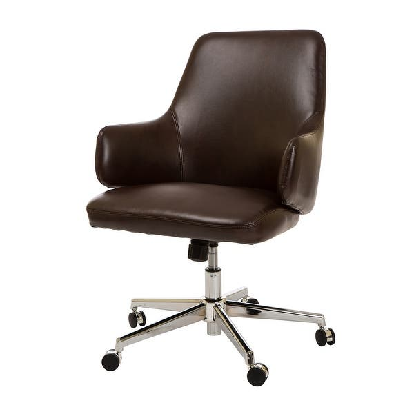 Shop Glitzhome 38 2 H Mid Century Modern Leatherette Adjustable Office Chair Overstock 19220437
