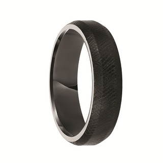 DION Beveled Black Tungsten Ring with Florentine Finish by Triton Rings - 6 mm