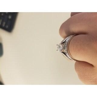 Annello by Kobelli 14k White Gold 1 1/2ct TGW  Radiant Moissanite (FG) and Round Diamond (GH) Engagement Ring