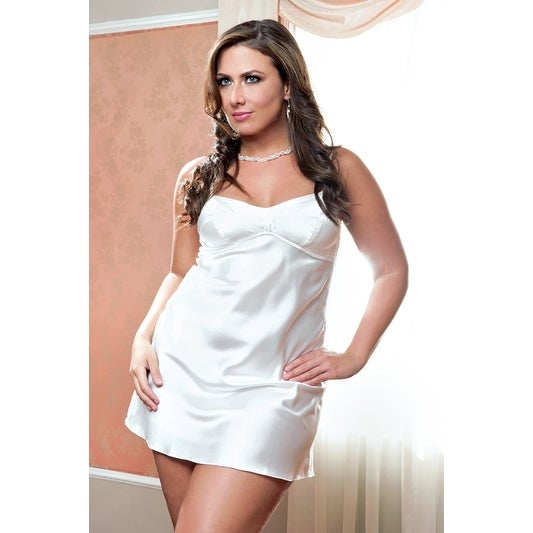 4617b9b348a Shop iCollection Plus Size Bringing Sexy Back Satin Chemise Bridal Lingerie  Set - Multi - Free Shipping On Orders Over  45 - Overstock - 18518675