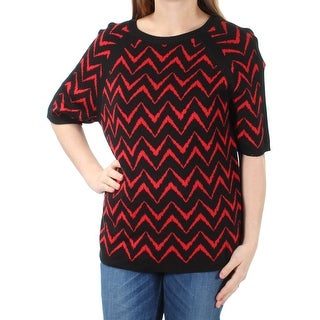 Womens Red Black Short Sleeve Jewel Neck Casual Sweater Size M