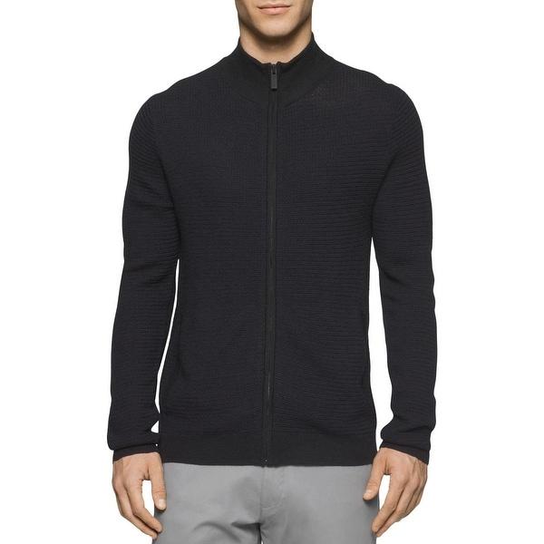 e5eeba1521 Calvin Klein Mens Full Zip Sweater Textured Merino Wool Blend