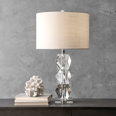 """nuLOOM 27"""" Crystal on the Rocks Faux Silk Shade Table Lamp"""