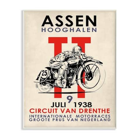 Stupell Industries Vintage Racing Sport Circuit Poster Motorcycle European Wood Wall Art