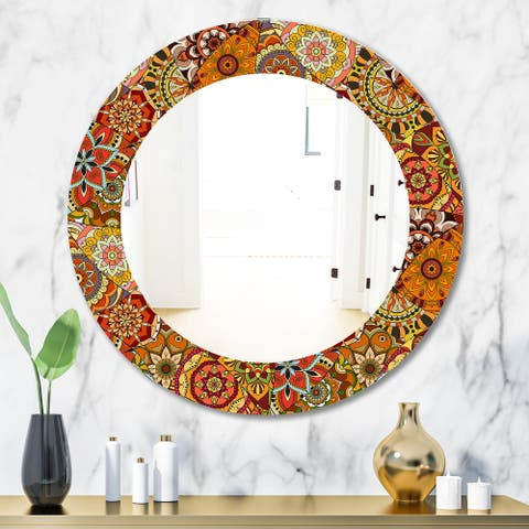 Designart 'Pattern Tile With Mandalas' Bohemian and Eclectic Mirror - Oval or Round Wall Mirror - Orange