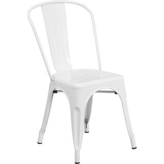 Brimmes White Metal Stackable Chair w/Vertical Slat Back for Patio/Bar