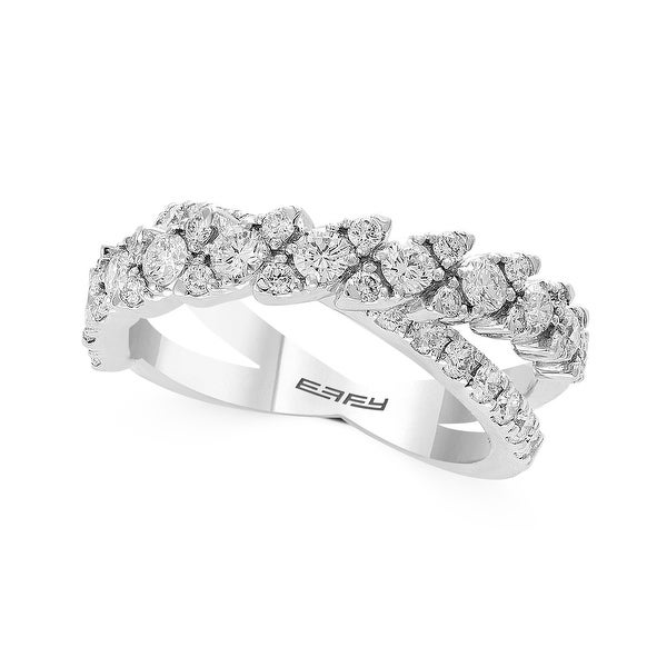 Effy Jewelry Diamond Marquee Crossover Ring in 14K White Gold, 1.29 TWC Size- 7. Opens flyout.