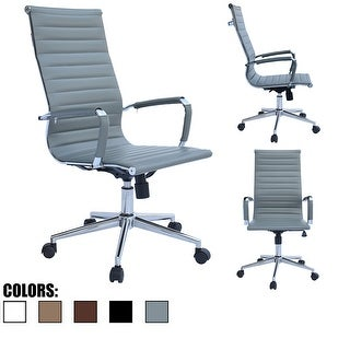2xhome Gray Executive Ergonomic High Back Modern Office Chair Ribbed PU Leather Swivel for Manager Conference Computer