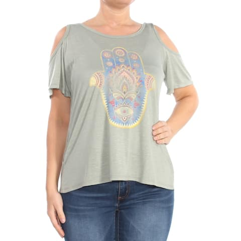 JESSICA SIMPSON Womens Green Cold-shoulder Printed Scoop Neck T-Shirt Top Size: L
