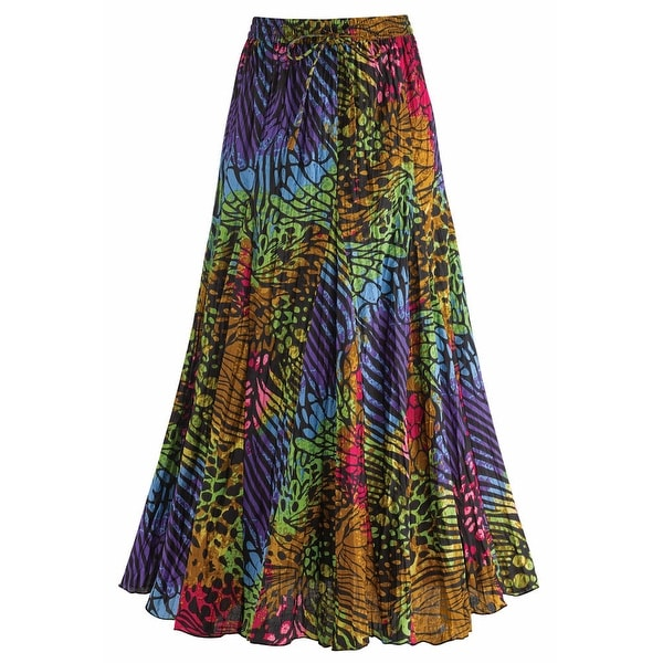 Women's Rainbow Colored Animal Print Cotton Broomstick Skirt