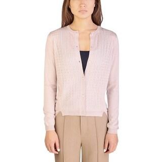 Miu Miu Women's Cashmere Silk Blend Puffed Pattern Cardigan Sweater Pink