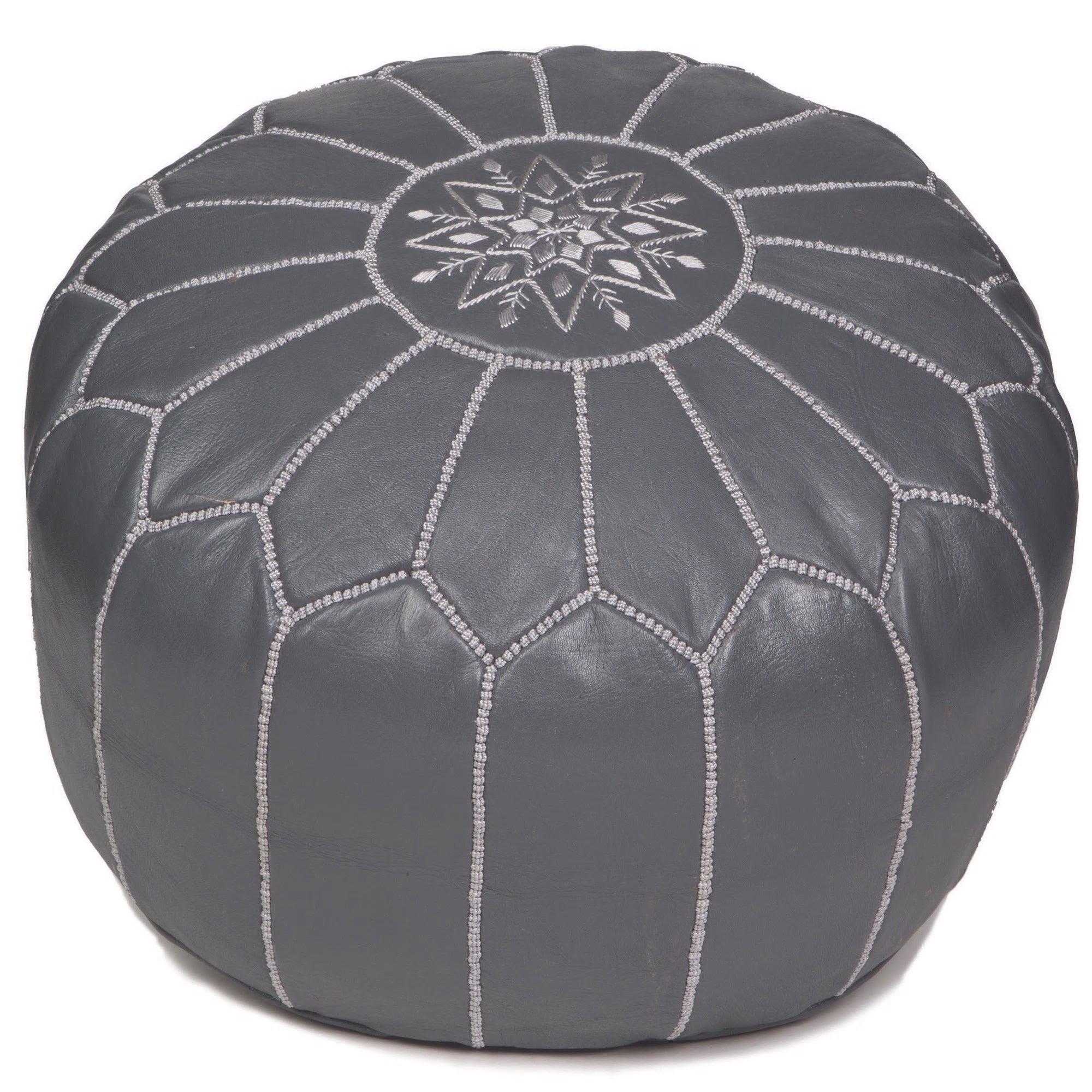 Black  Authentic MOROCCAN POUF Leather Pouf Ottoman Pouffe footst***NEW***