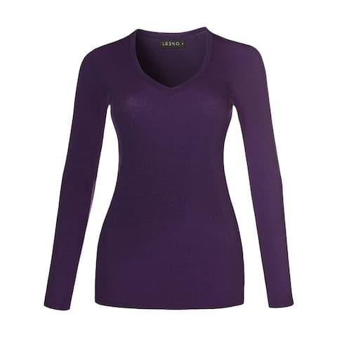Basic Lightweight Fitted Long Sleeve V Neck Cotton Shirt with Stretch