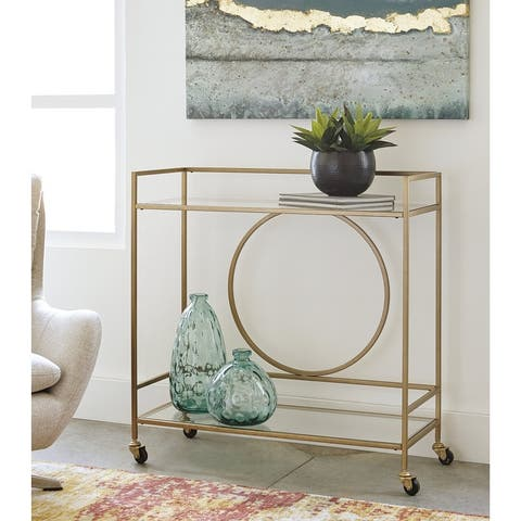 Jackford Mid-Century Modern Bar Cart in Gold