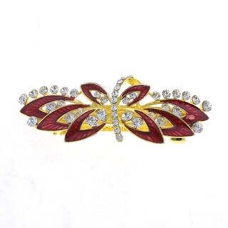 Unique Bargains Woman Dark Red Flower Decor Metal Barrette Hairclip French Clip Gold Tone