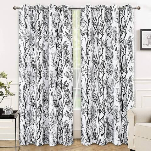 Porch & Den Pagosa Tree Branch Grommet Window Curtain Panel Pair