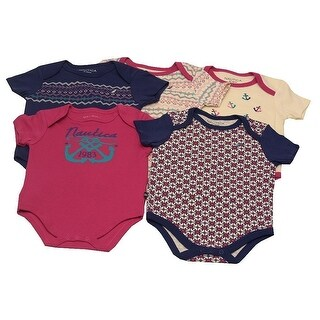 Nautica Baby Girls Navy Ivory Anchor Geometrical Pattern 5 Pcs Bodysuit Set 3M