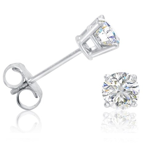 Amanda Rose AGS Certified 1/2ct tw Round Diamond Stud Earrings in 14K White Gold - N/A
