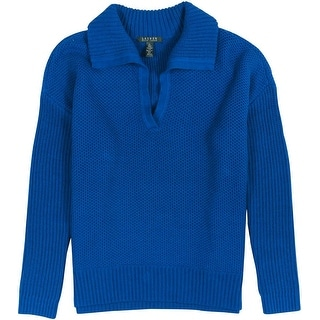 Lauren Ralph Lauren Ribbed Knit Fold-Over Pullover Sweater - S