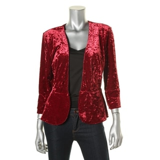 Robert Rodriguez Womens Crushed Velvet Solid Crop Blazer