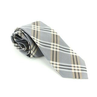 Geoffrey Beene Grey Plaid Necktie