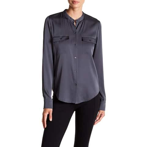 Vince B& Collar Stretch Silk Button Down Blouse, Shadow, Medium