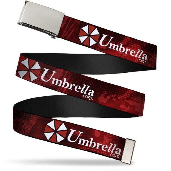 Blank Chrome Buckle Resident Evil Umbrella Corp. Logo Red Black Web Belt