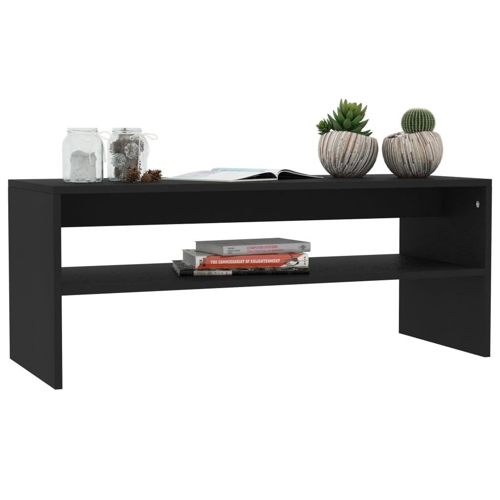 Vidaxl Coffee Table Black 39 4 X15 7 Chipboard